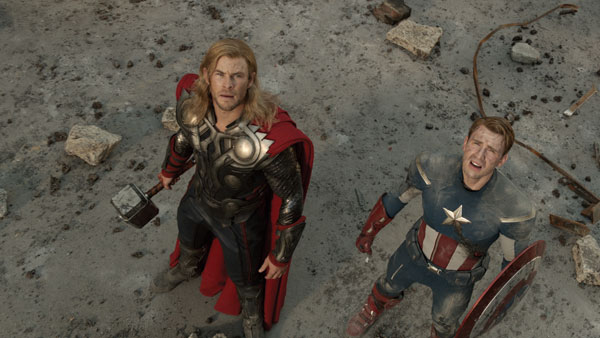 Thor and Captain America in The Avengers movie